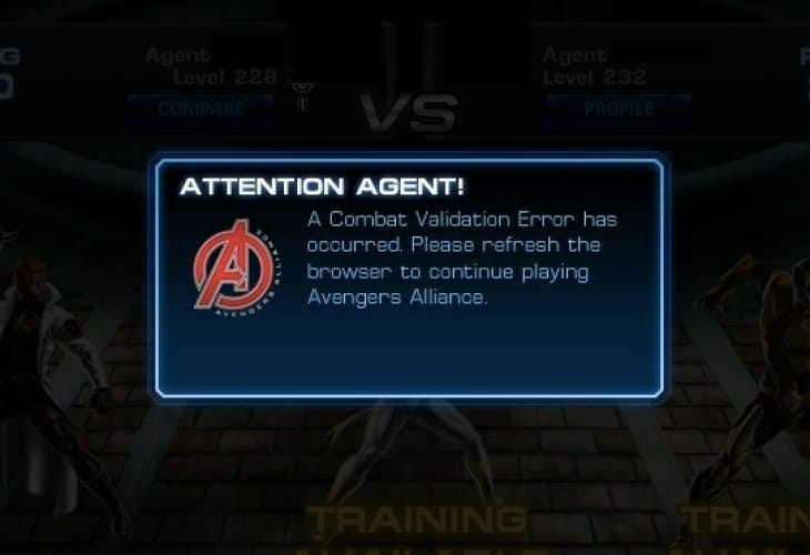 Avengers Alliance problems with Combat Validation Error