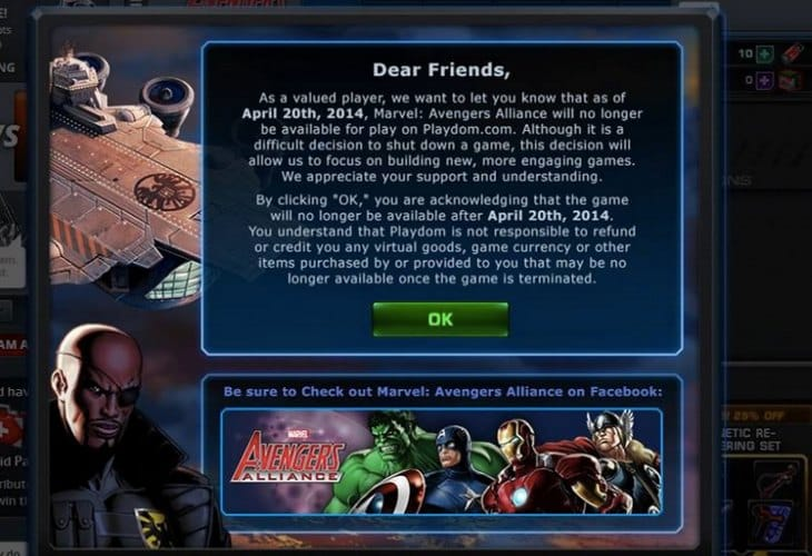 avengers-alliance-playdom-closing