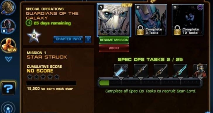 Avengers Alliance Spec Op 20 task list