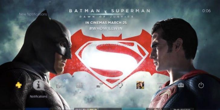 Batman Vs Superman free PS4 theme download