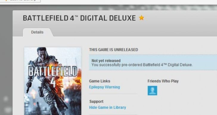 Battlefield 4 PC pre-load release time with Origin fears
