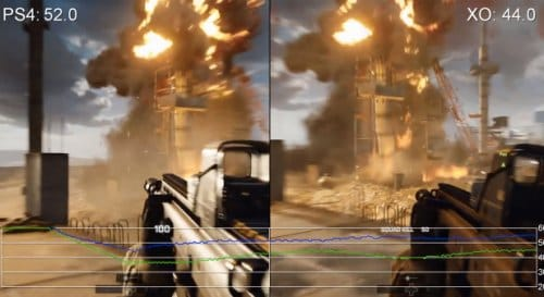 Frame rate drops during an explosion..