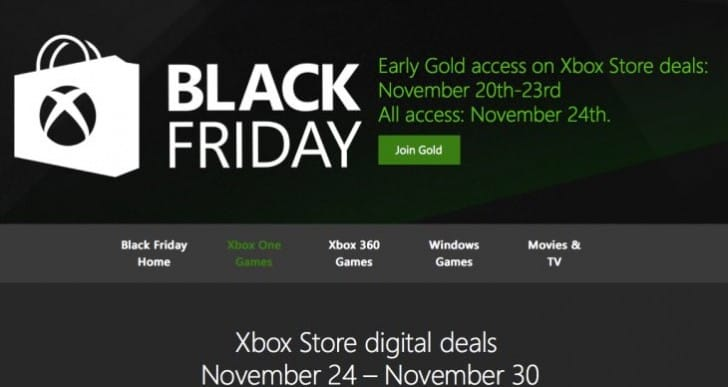 Microsoft reveals Xbox Black Friday game deals list