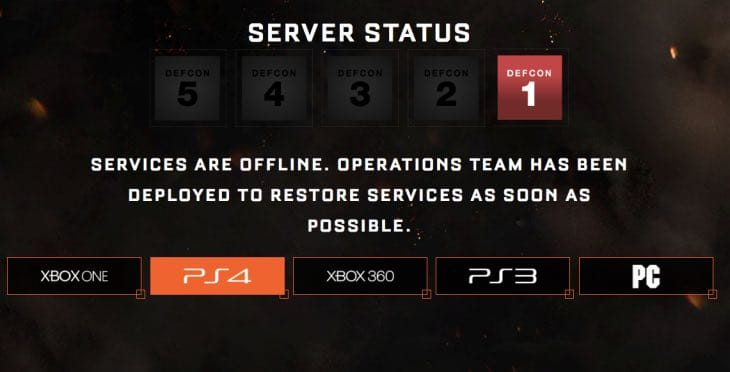 black ops 3 servers down on ps4  xbox one with defcon 1