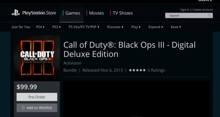 Black Ops 3 PS4 Digital Deluxe cancelled after PS3