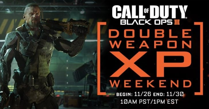 Black Ops 3 Double Weapon XP weekend start time for US, UK