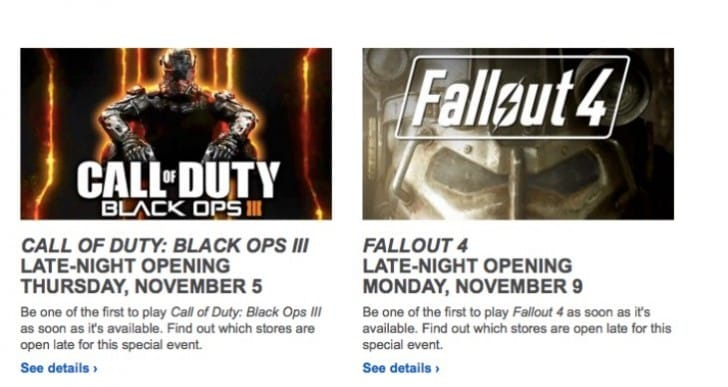 Black Ops 3, Fallout 4 midnight release at Best Buy