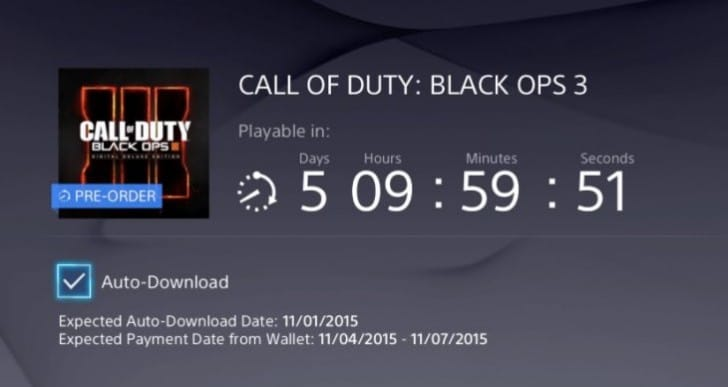 Black Ops 3 PS4 Pre-load start time for UK, EU