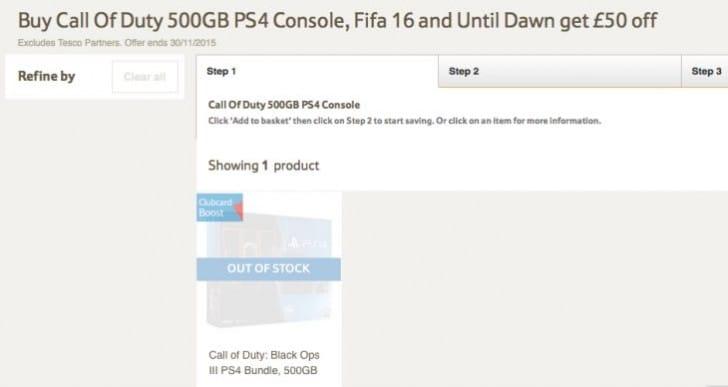 Black Ops 3 PS4 Bundle UK stock update at Tesco