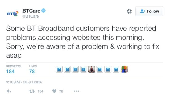 BT broadband users hit by UK-wide outage