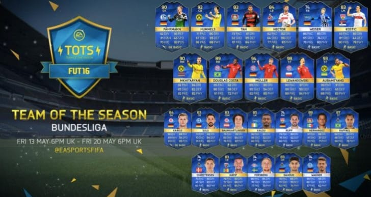 Bundesliga TOTS FIFA 16 release time with lineup