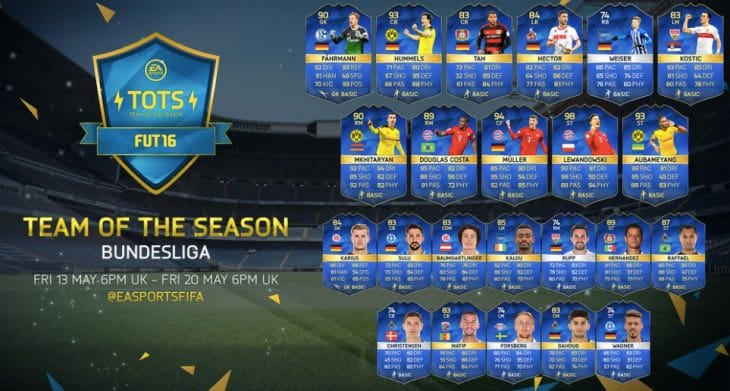 Bundesliga Tots Fifa 16 Release Time With Lineup Product