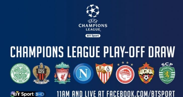 LFC, Celtic Champions League Draw free on Facebook