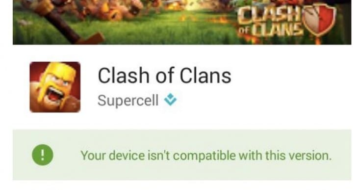 Clash of Clans update not compatible on Android