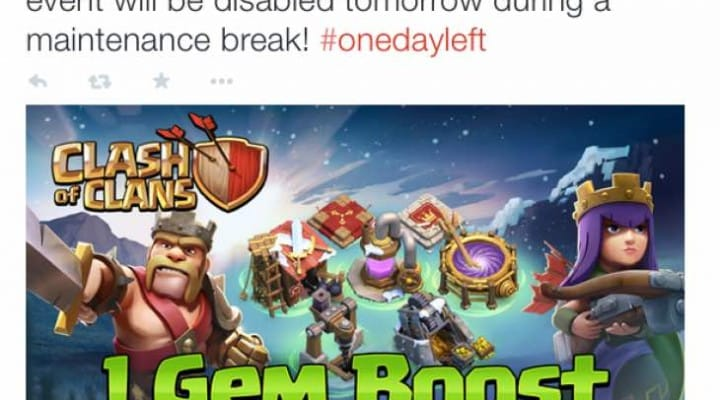 Clash of Clans Jan 7 maintenance break ends gem boost