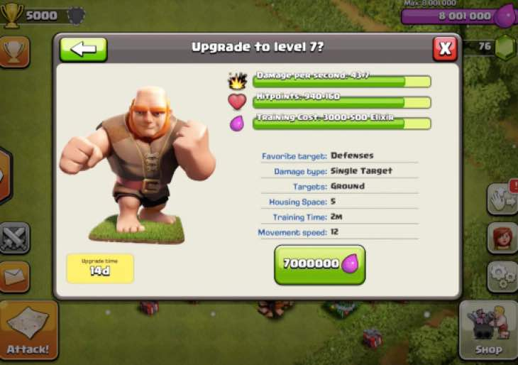 Mise à jour prochaine de Noël 2014 Clash-of-clans-level-7-giants-upgrade-cost