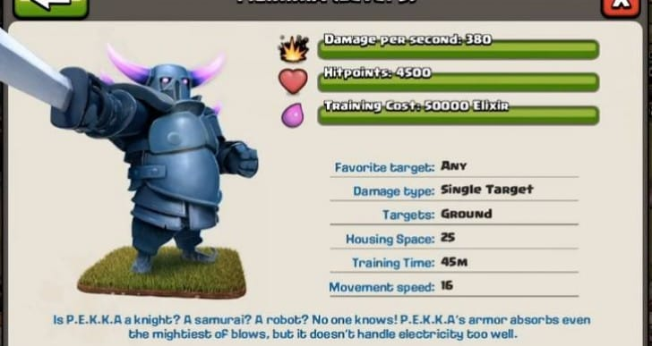 Clash of Clans July update with Pekka level 5