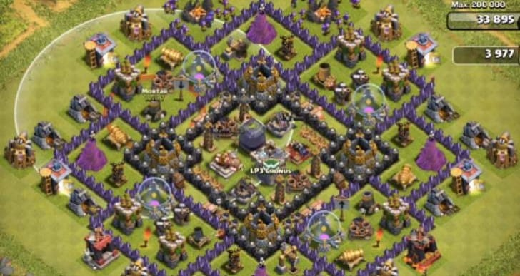 Clash of Clans Town Hall 9 farming base for defense