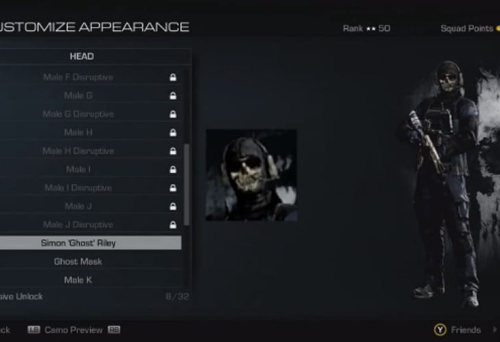 COD Ghosts mask code for males only