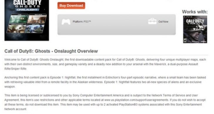COD Ghosts Onslaught problems with Season Pass