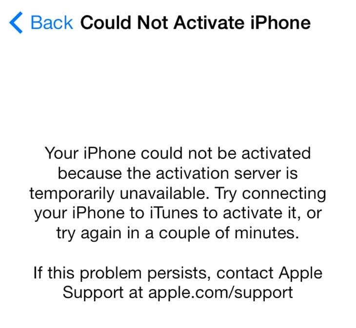 could not activate iphone apple activation server on ios 7 product reviews net 13896