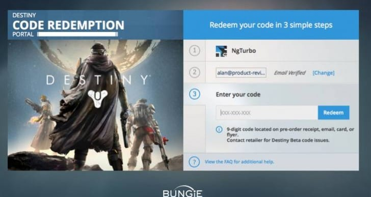 Destiny beta redeem code for PS4, Xbox One live
