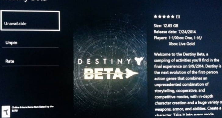 Destiny beta file size on PS4, Xbox One