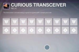 Destiny Curious Transceiver passcodes 1-4