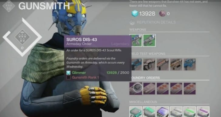 Best Destiny Armsday Foundry Order Weapons