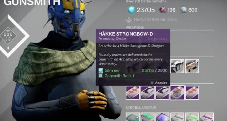 Destiny Häkke Strongbow-D from Armsday order