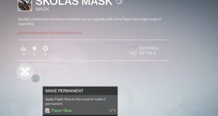 Get Destiny Paper Glue for Legendary permanent masks