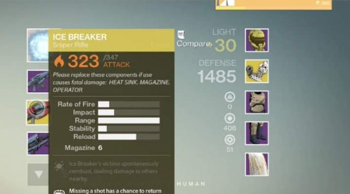 Destiny Icebreaker with 347 Attack tested by Bungie