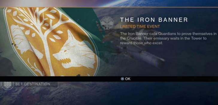 Destiny Iron Banner event start time today