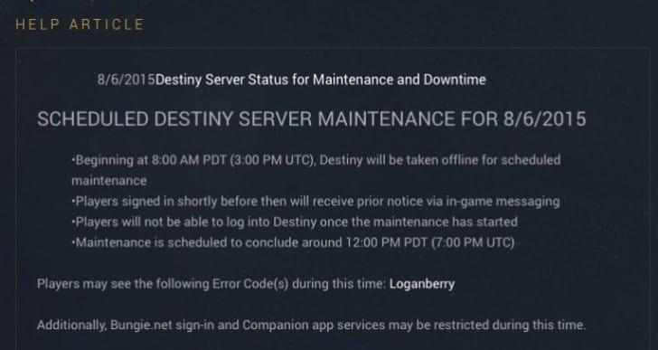 Destiny Loganberry error with server back up time
