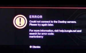 Destiny down with Marionberry, Banjo server errors