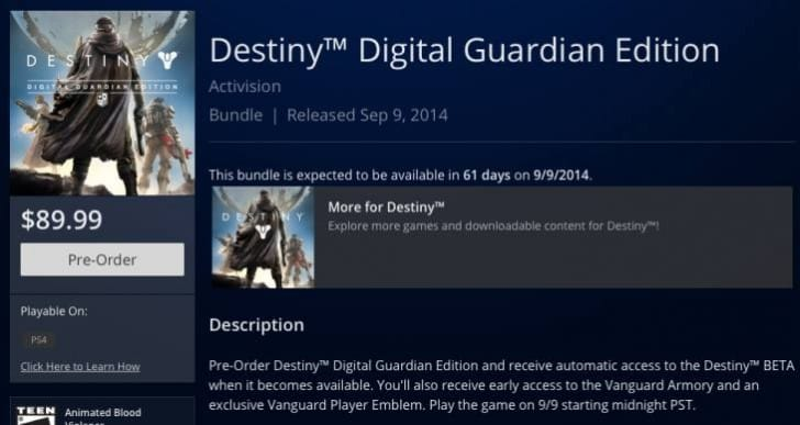 Destiny PS4 install size could top 40GB