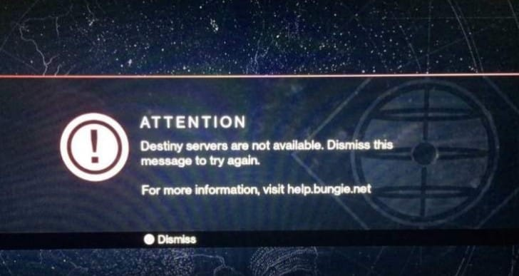 Destiny servers down with Nov 12 maintenance times