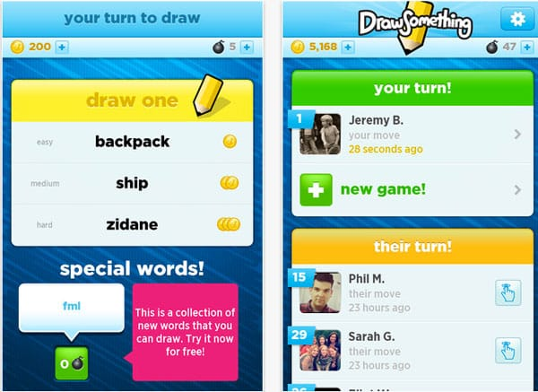 New UI for Draw Something words app