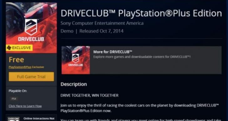 PS Store update for Driveclub PS Plus Edition