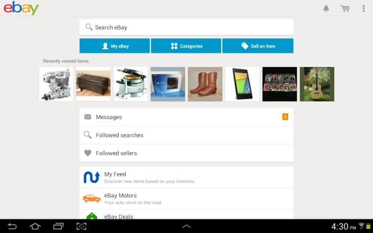 eBay app new Android update