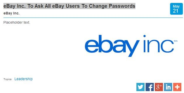 eBay password change request