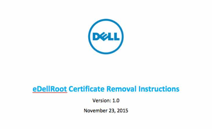 eDellRoot Certificate Removal Instructions