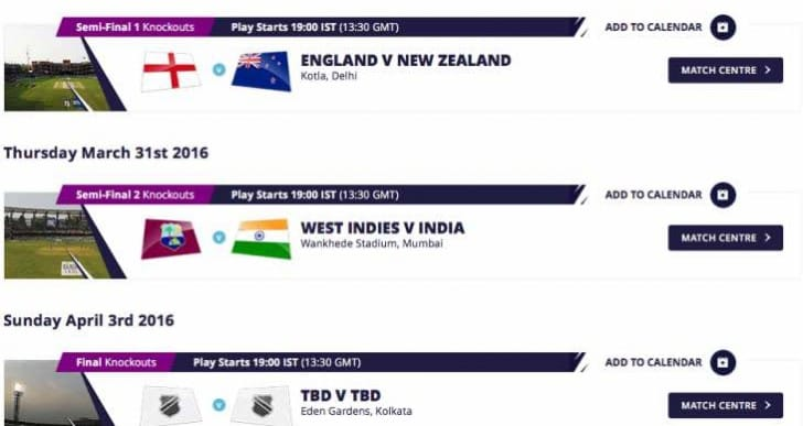 ICC World Twenty20 India 2016 app update for live cricket score