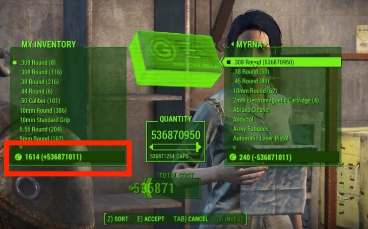 how to add caps in fallout 4