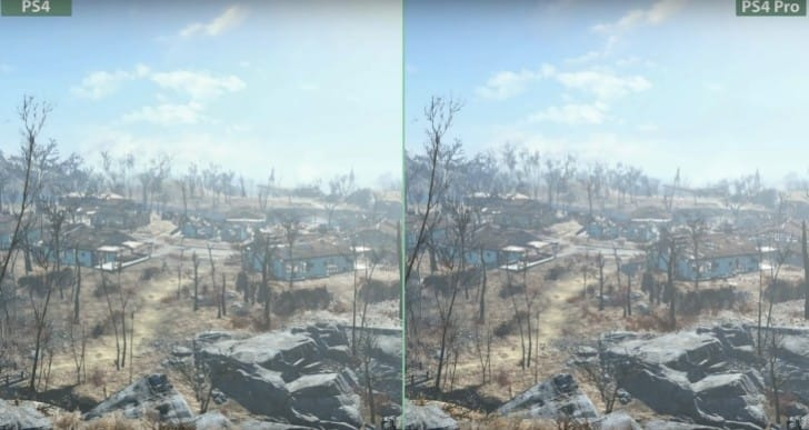 Fallout 4 PS4 Pro 4K patch vs normal with PC criticism