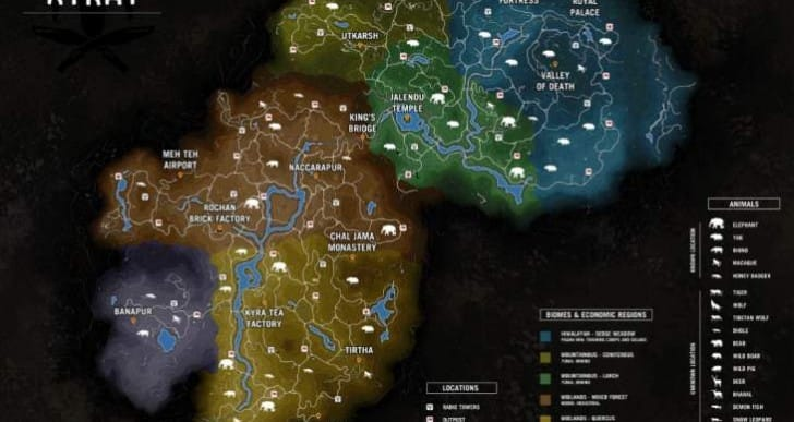 Far Cry 4 full map size with animals list