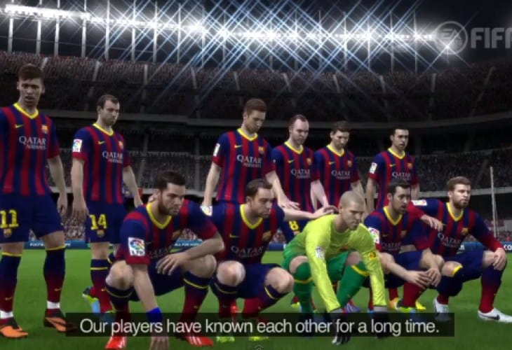 FIFA 14 insight with Barcelona FC players