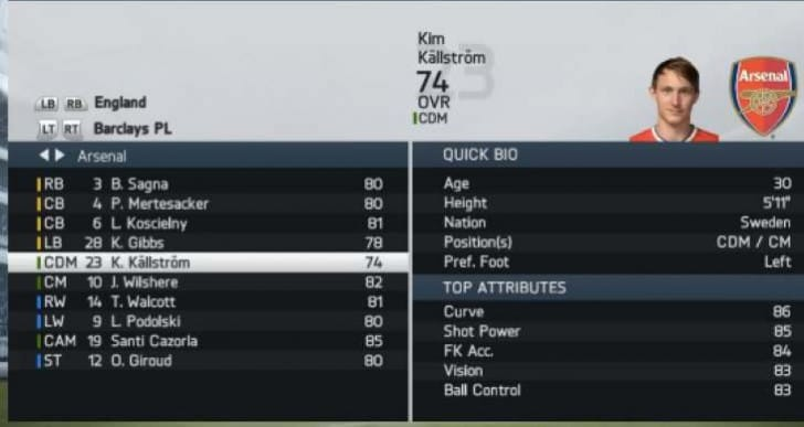 FIFA 14 Kallstrom exposed for Arsenal FC transfer