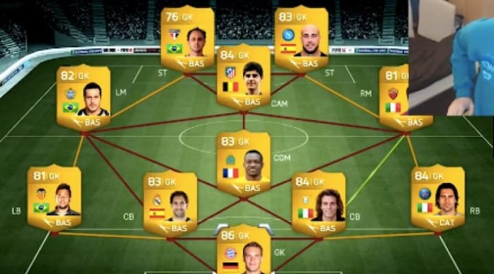 FIFA 14 Ultimate Team with Pepe Reina as striker