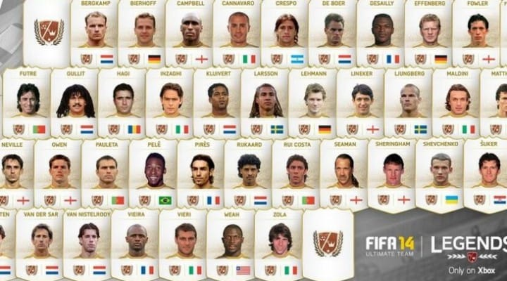 FIFA 14 Xbox One jealousy, Ultimate Team Legends list